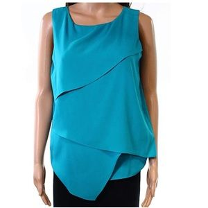Calvin Klein Tiered Sleeveless Blouse XL -flawed-
